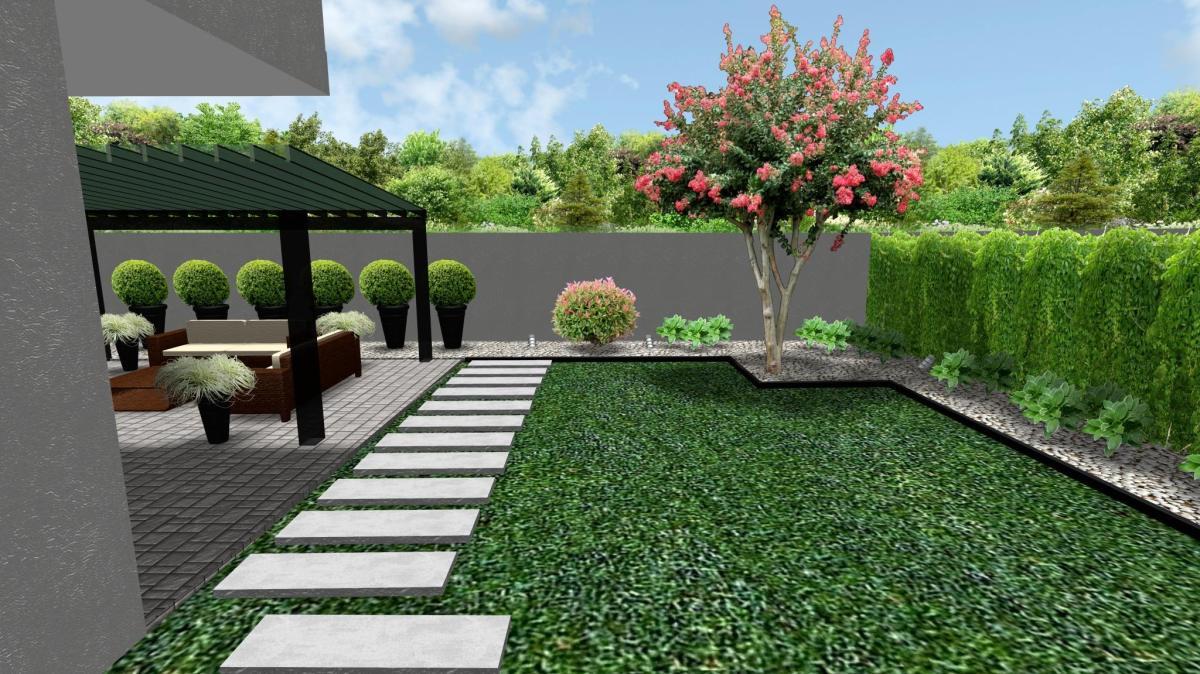 Infografía 3D de diseño de jardín
